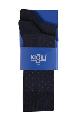 Erkek Giyim - Lacivert 42 Beden 2'li Desenli Çorap