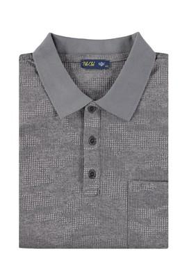 Erkek Giyim - Açık Gri 4X Beden King Size Polo Yaka Desenli Tişört