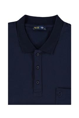 Erkek Giyim - Lacivert 7X Beden King Size Polo Yaka Süprem Tişört
