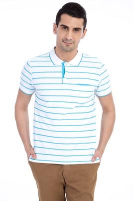 Erkek Giyim - Beyaz 3X Beden Regular Fit Çizgili Polo Yaka Tişört