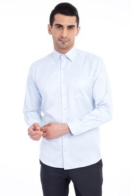 Erkek Giyim - Açık Mavi XXL Beden Uzun Kol Desenli Klasik Gömlek