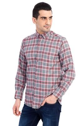 Erkek Giyim - Açık Gri M Beden Uzun Kol Oduncu Ekose Gömlek