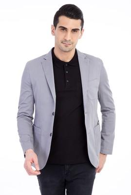 Erkek Giyim - Açık Gri 46 Beden Yıkamalı Spor Ceket