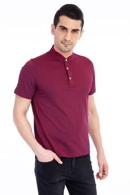 Erkek Giyim - Kırmızı XL Beden Bisiklet Yaka Regular Fit Tişört