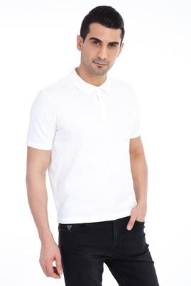Erkek Giyim - Beyaz L Beden Regular Fit Polo Yaka Tişört