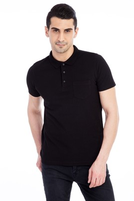 Erkek Giyim - Siyah XXL Beden Regular Fit Polo Yaka Tişört