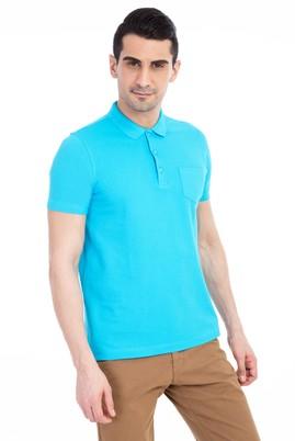 Erkek Giyim - Turkuaz L Beden Regular Fit Polo Yaka Tişört