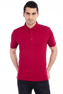 Erkek Giyim - Kırmızı L Beden Polo Yaka Slim Fit Tişört