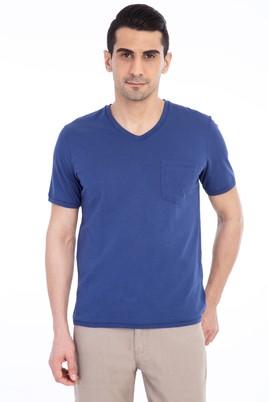 Erkek Giyim - Mavi L Beden V Yaka Regular Fit Tişört