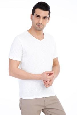 Erkek Giyim - Krem XXL Beden V Yaka Tişört
