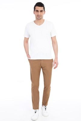 Erkek Giyim - Açık Kahve - Camel 46 Beden Slim Fit Spor Pantolon