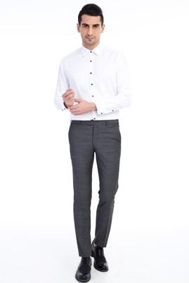 Erkek Giyim - Füme Gri 52 Beden Slim Fit Kuşgözü Klasik Pantolon