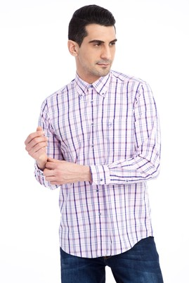 Erkek Giyim - Pembe XXL Beden Uzun Kol Ekose Gömlek