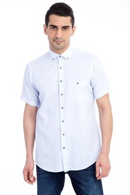 Erkek Giyim - Açık Mavi XL Beden Kısa Kol Spor Gömlek