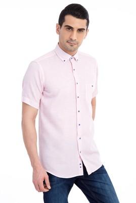 Erkek Giyim - Kırmızı M Beden Kısa Kol Spor Gömlek