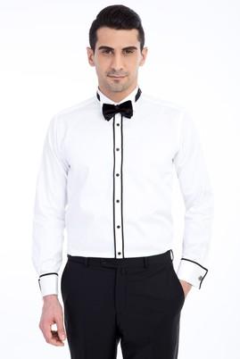 Erkek Giyim - Beyaz M Beden Ata Yaka Saten Gömlek