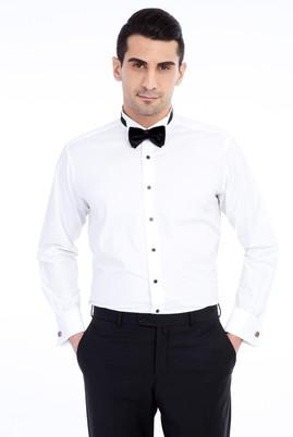 Erkek Giyim - Beyaz L Beden Uzun Kol Ata Yaka Gömlek