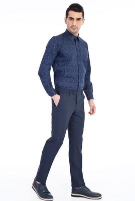 Erkek Giyim - KOYU MAVİ 54 Beden Slim Fit Kuşgözü Pantolon