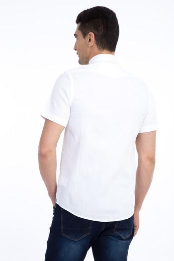 Erkek Giyim - Kısa Kol Tasarım Slim Fit Gömlek