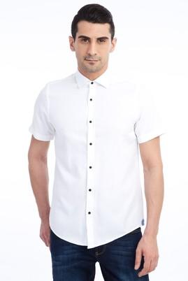 Erkek Giyim - Beyaz L Beden Kısa Kol Spor Slim Fit Gömlek