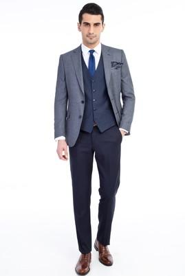 Erkek Giyim - Mavi 52 Beden Yelekli Takım Elbise