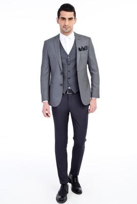 Erkek Giyim - Orta füme 48 Beden Süper Slim Fit Yelekli Takım Elbise