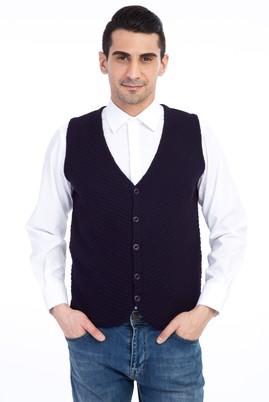 Erkek Giyim - Mor L Beden Yünlü Desenli Yelek