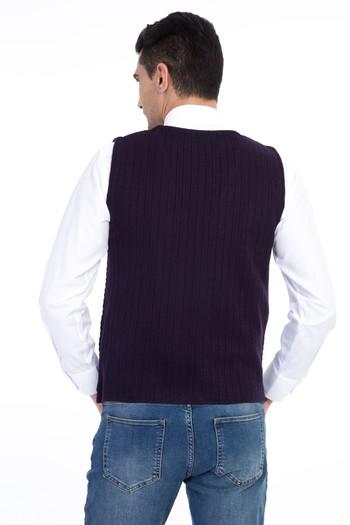 Erkek Giyim - Yünlü Regular Fit Desenli Yelek