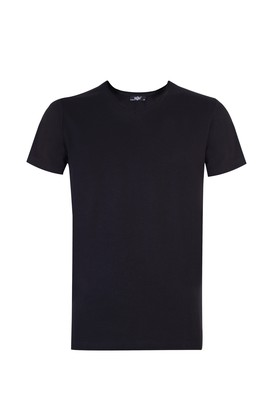 Erkek Giyim - Siyah S Beden V Yaka Sevgililer Günü Tişört