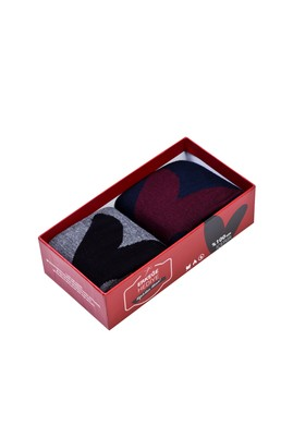 Erkek Giyim - Lacivert 42 Beden 2'li Sevgililer Günü Çorabı