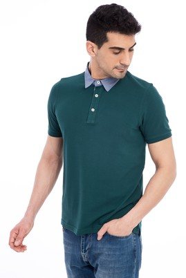 Erkek Giyim - KOYU YESİL M Beden Regular Fit Polo Yaka Tişört