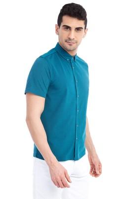 Erkek Giyim - KOYU YESİL XL Beden Regular Fit Polo Yaka Tişört / Gömlek