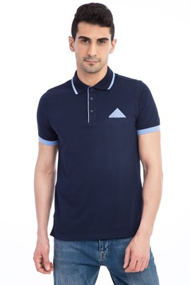Erkek Giyim - Lacivert XXL Beden Polo Yaka Slim Fit Tişört