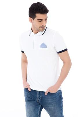 Erkek Giyim - Beyaz L Beden Polo Yaka Slim Fit Tişört