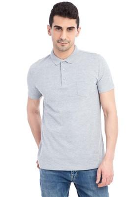 Erkek Giyim - Orta füme M Beden Regular Fit Desenli Polo Yaka Tişört