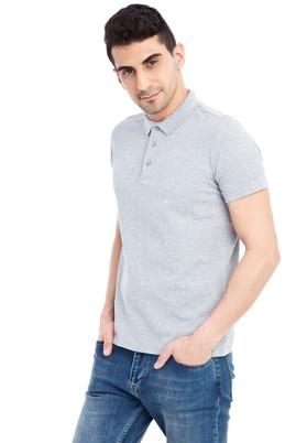 Erkek Giyim - Orta füme XL Beden Regular Fit Desenli Polo Yaka Tişört