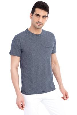 Erkek Giyim - Lacivert L Beden Bisiklet Yaka Çizgili Slim Fit Tişört