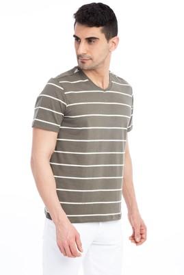 Erkek Giyim - HAKİ M Beden V Yaka Çizgili Regular Fit Tişört