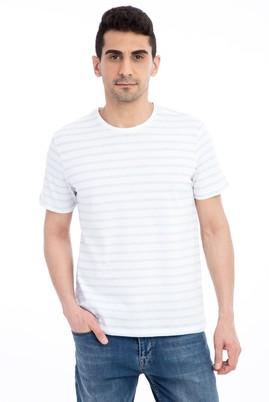 Erkek Giyim - Beyaz L Beden Bisiklet Yaka Çizgili Regular Fit Tişört