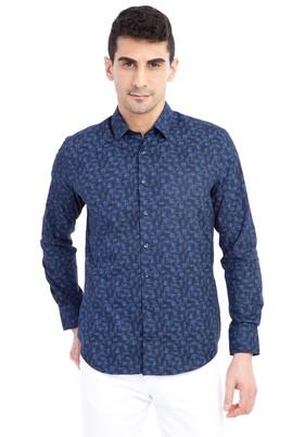 Erkek Giyim - Lacivert M Beden Uzun Kol Desenli Slim Fit Gömlek