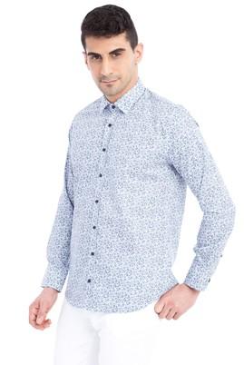 Erkek Giyim - Açık Gri M Beden Uzun Kol Desenli Slim Fit Gömlek