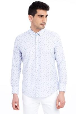 Erkek Giyim - Beyaz L Beden Uzun Kol Desenli Slim Fit Gömlek