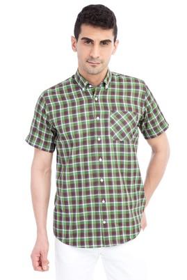 Erkek Giyim - KOYU YESİL L Beden Kısa Kol Ekose Gömlek