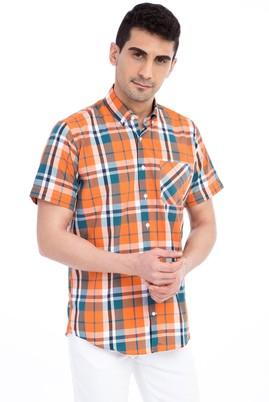 Erkek Giyim - KOYU YESİL XL Beden Kısa Kol Regular Fit Ekose Gömlek