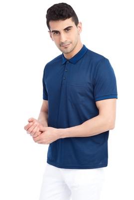 Erkek Giyim - Lacivert L Beden Regular Fit Desenli Polo Yaka Tişört