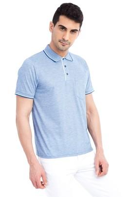 Erkek Giyim - Mavi M Beden Regular Fit Desenli Polo Yaka Tişört
