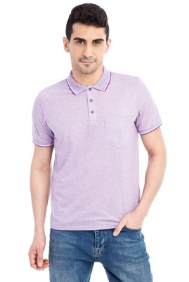 Erkek Giyim - Mor XXL Beden Regular Fit Desenli Polo Yaka Tişört