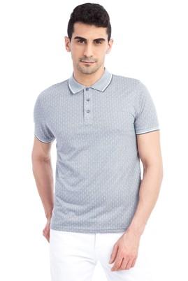 Erkek Giyim - Orta füme XXL Beden Regular Fit Desenli Polo Yaka Tişört