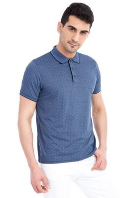 Erkek Giyim - Mavi L Beden Regular Fit Desenli Polo Yaka Tişört