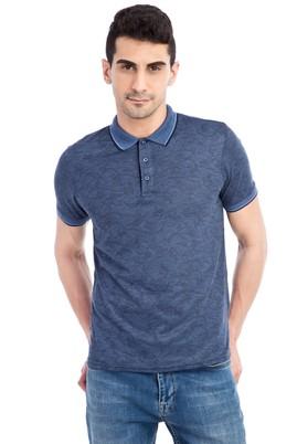 Erkek Giyim - Lacivert XXL Beden Regular Fit Desenli Polo Yaka Tişört